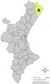 Localització de Cervera del Maestrat respecte del País Valencià.png