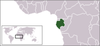 A map showing the location of Gabon