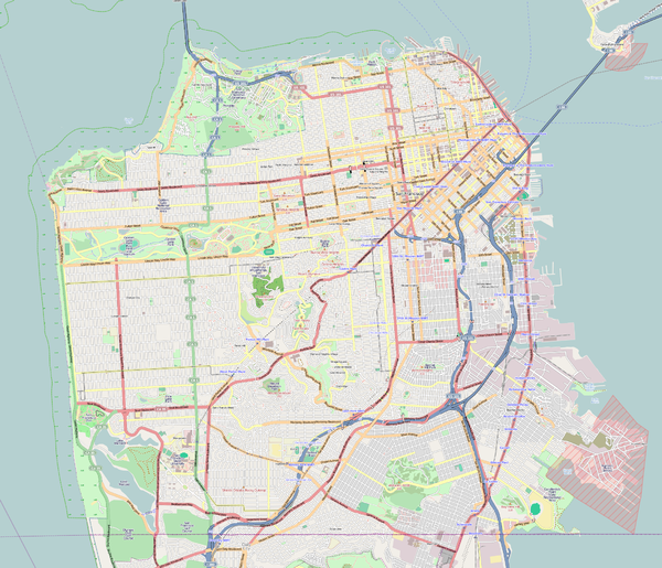 List of hills in San Francisco is located in San Francisco County
