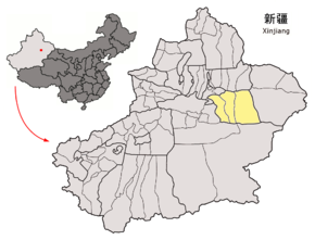 Location of Turpan Prefecture within Xinjiang (China).png