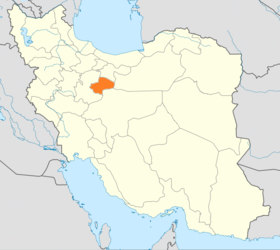 Map of Iran with Qom highlighted