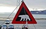 Longyearbyen Eisbärenschild am Flughafen.jpg
