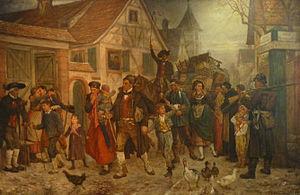 Alsace-Lorraine - Louis-Frédéric Schützenberger's The Exodus (1872), depicting Alsatians leaving newly annexed Alsace for France