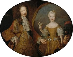 Mariana Victoria of Spain - Louis XV and Mariana Victoria double portrait by Alexis Simon Belle