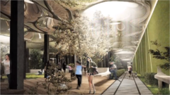 A rendering of the proposed Lowline park design