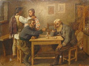 Ioan Kalinderu - In the Tavern, 1907 painting by Ludovic Bassarab