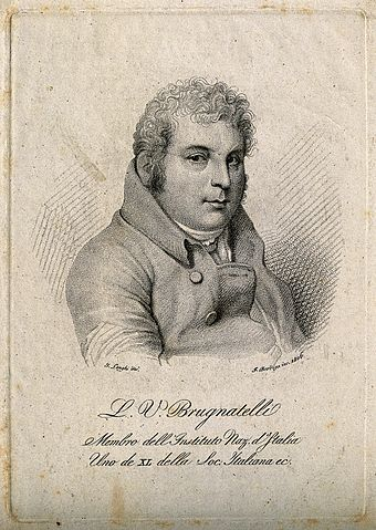 Luigi Valentino Brugnatelli Luigi Valentino Brugnatelli. Stipple engraving by F. Bordiga Wellcome V0000839.jpg