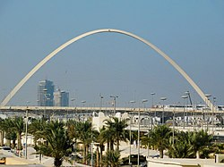 Lusail Marina Interchange Arch. This iconic arch delineates one of the southern borders between Doha and Lusail.