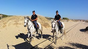 Side cap - Members of GNR wearing typical pointed bivaques, while patrolling a Portuguese beach on horse.