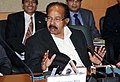 M. Veerappa Moily addressing a press conference, during the 11th International Oil & Gas Conference and Exhibition – PETROTECH-2014, in Noida, Uttar Pradesh on January 14, 2014.jpg