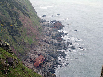 Hartland Point - The remains of MS Johanna in 2004