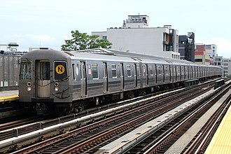 N (New York City Subway service) - Astoria–Ditmars Boulevard-bound N train of R68As at 36th Avenue