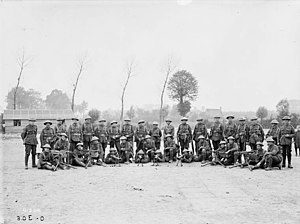 2nd Battalion (Eastern Ontario Regiment), CEF - Machine Gun Section, 2nd Battalion of the Canadian Expeditionary Force, at Scottish Lines near Poperinhge, not far from Ypres, after fighting at Sanctuary Wood and Maple Copse, July 16, 1916