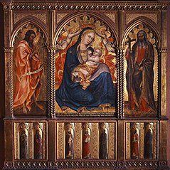 Madonna of Humility with Saints John the Baptist and Andrew; below: Seven Standing Saints