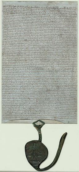 1225 charter, held in the British Library, with the royal great seal attached Magna-carta-1225-C6257-03.jpg