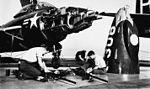 Maintenance on F9F-6 of VF-103 aboard USS Coral Sea (CVA-43) in 1954.jpg