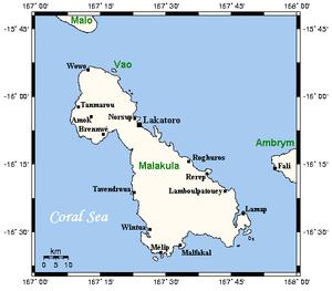 Malakula - Image: Malakula Map