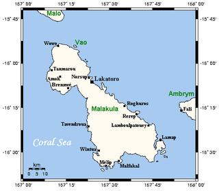 Malakula Island in Malampa Province, Vanuatu