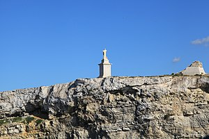 St Paul's Island - The statue of Saint Paul and the ruins of the tower.