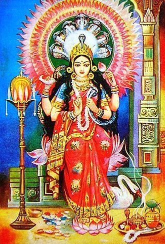 Mangal-Kāvya - Depiction of Manasā, the snake-goddess in 20th century Bengali popular art.