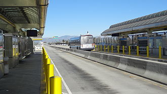 Silver Line (Los Angeles Metro) - Northbound Metro Silver Line bus departing Manchester Station.