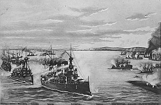 The Battle of Manila Bay, depicted in a lithograph by Butler, Thomas & Company, 1899 ManilaBayBattle.jpg