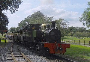 Great Whipsnade Railway - Manning Wardle 0-6-2T No. 1 'Chevallier' and train arrive at Whipsnade Central Station