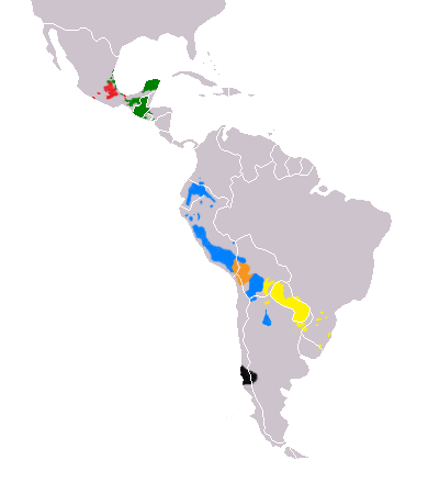 Map-Most Widely Spoken Native Languages in Latin America