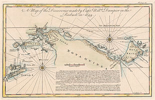 Copperplate map, with colour added, of New Guinea, New Britain and adjacent islands