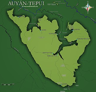 Auyán-tepui - Map of Auyán-tepui showing notable landmarks