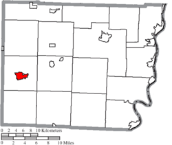 Location of Barnesville in Belmont County