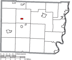 Location of Morristown in Belmont County