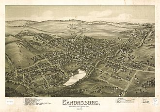 Pictorial map - Image: Map of Canonsburg 1897