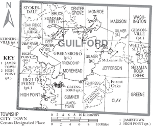 Map of Guilford County, North Carolina With Municipal and Township Labels