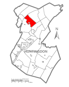 Map of Huntingdon County, Pennsylvania Highlighting Logan Township.PNG