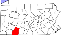 Map of Pennsylvania highlighting Somerset County.svg
