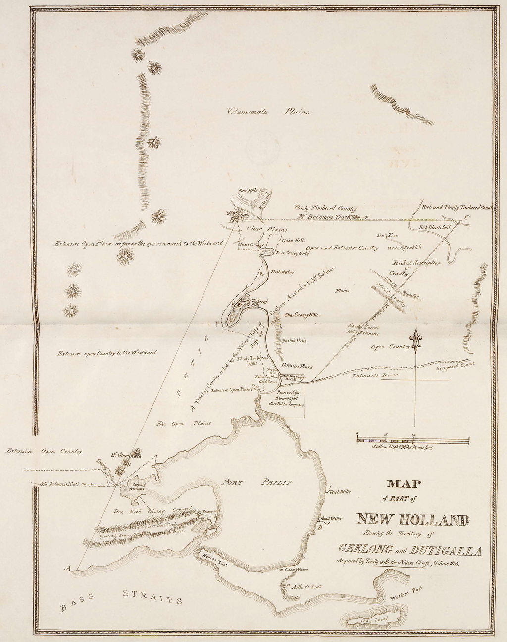 Map of part of New Holland showing the territory of Geelong and Dutigalla