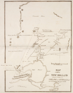 "Batman's Treaty - 1835 map showing the area of Port Phillip, stating that this is the land ""Acquired by Treaty with the Native Chiefs, 6 June 1835"""