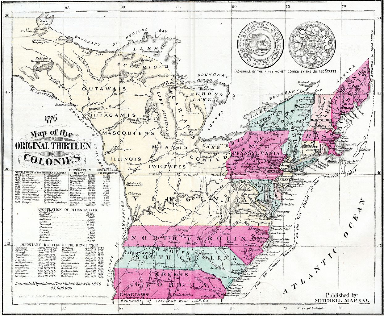 thirteen colonies map of the thirteen original colonies as published for the us centennial in 1876