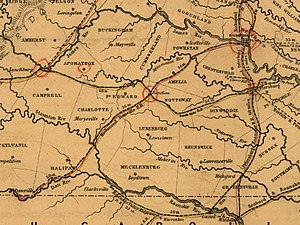 Southside Railroad (Virginia) - 1852 railroad map by W. Vaisz, cropped to show the Southside Railroad.