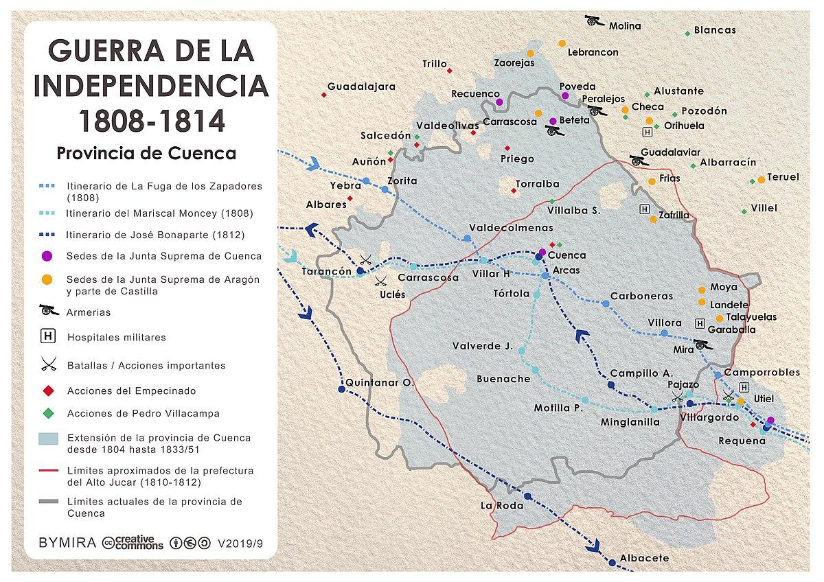 Mapa Provincia De Cuenca.Archivo Mapa De La Guerra De La Independencia En La Provincia De Cuenca Jpg Wikipedia La Enciclopedia Libre