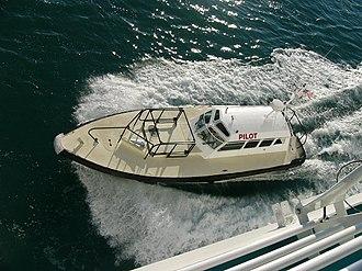 Pilot boat - A pilot boat pulls alongside a cruise ship.