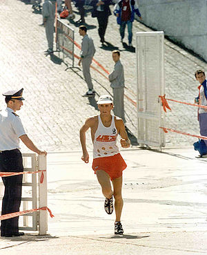 Road running in a U.S. Air Force marathon