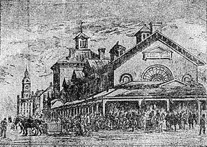 St. Anne's Market - Engraving of St. Anne's Market, from the Canadian Illustrated News in 1880