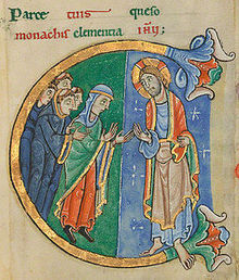 An image from St. Alban's Psalter, thought to be Christina of Markyate, opening Psalm 105, page 285.