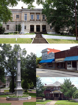Clockwise, from top: Lee County Courthouse, Marianna Commercial Historic District, Lee County Historical Museum, and the General Robert E. Lee Monument in City Park