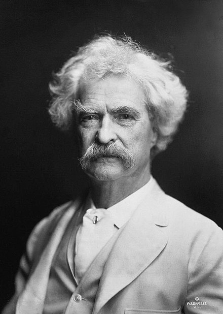 Mark Twain (1835-1910) in 1907 Mark Twain by AF Bradley.jpg