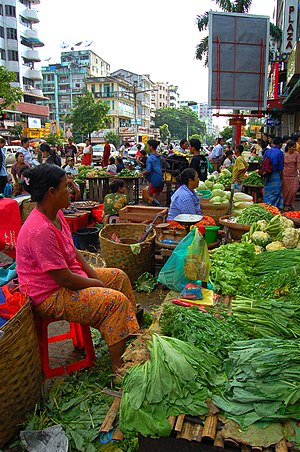 English: Outdoor market, Yangon, Myanmar