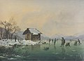 Markus Pernhart - Wörthersee bei Loretto mit Fischerhütte und Eisläufern2.jpg