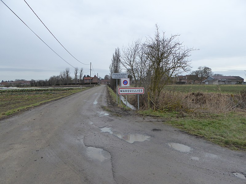 City limit sign  Marquillies Nord.- France.